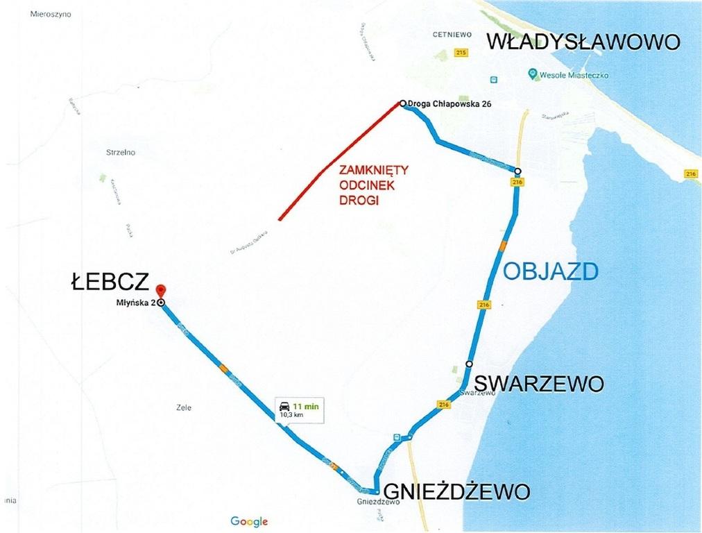 UWAGA! Zamknięcie drogi Władysławowo-Łebcz (link otworzy duże zdjęcie)