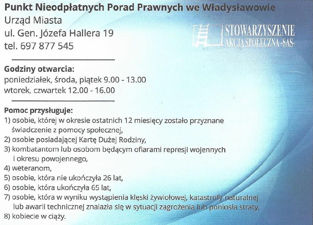 Punkt Nieodpłatnych Porad Prawnych we Władysławowie (link otworzy duże zdjęcie)