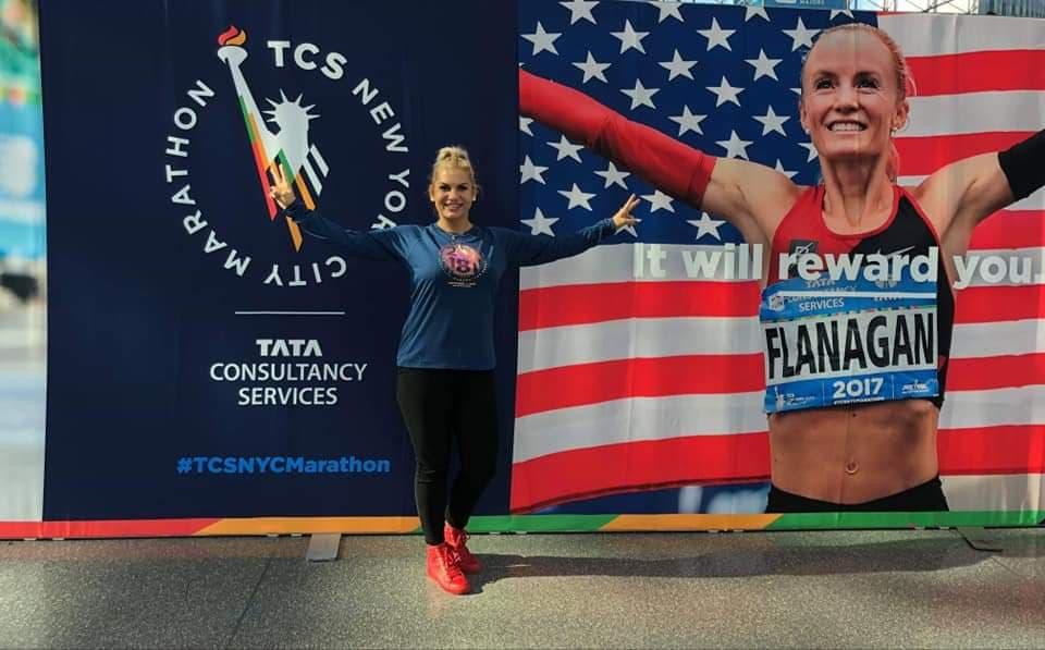 Biegaczka z Władysławowa na maratonie w Nowym Jorku (źródło: facebook) (link otworzy duże zdjęcie)