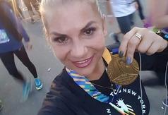 Biegaczka z Władysławowa na maratonie w Nowym Jorku (źródło: facebook)