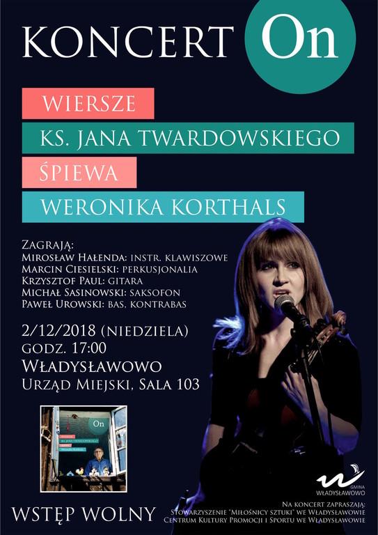 Płyta ON. Wiersze ks. Jana Twardowskiego śpiewa Weronika Korthals. Władysławowo, 2 grudnia 2018