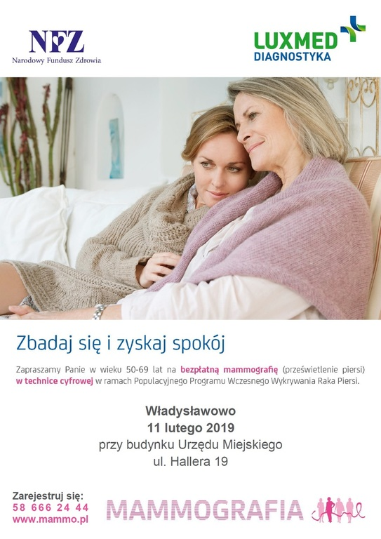 Bezpłatne badania mammograficzne dla kobiet w wieku 50-69 lat (link otworzy duże zdjęcie)