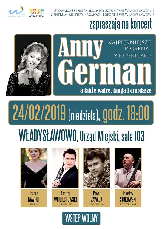 Koncert najpiękniejszych piosenek z repertuaru Anny German - Władysławowo, 24.02.2019 (link otworzy du