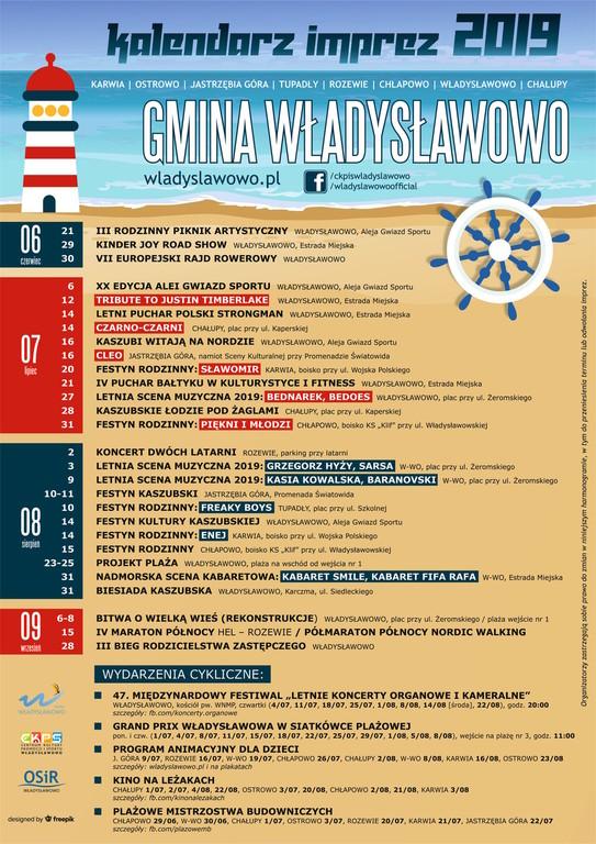 Kalendarz imprez Gmina Władysławowo sezon 2019 (link otworzy duże zdjęcie)