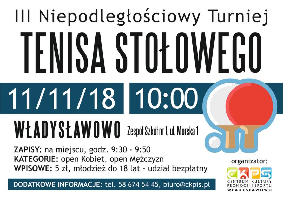 III Niepodległościowy Turniej Tenisa Stołowego - Władysławowo 2018