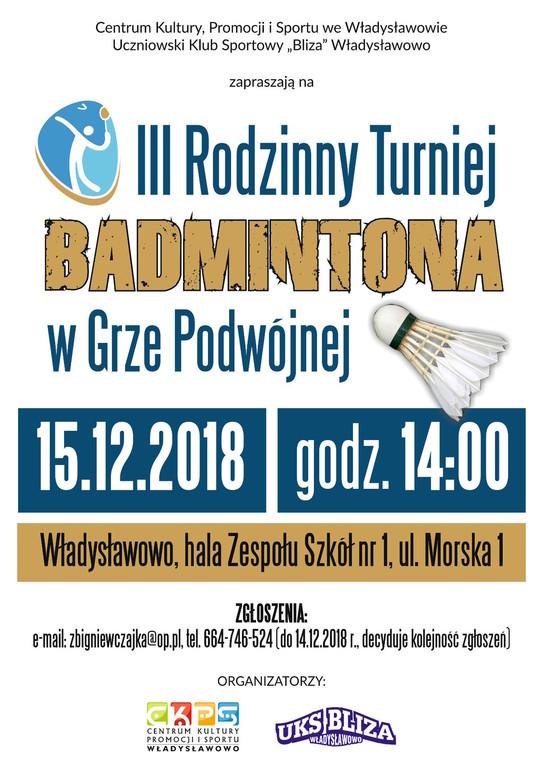 III Rodzinny Turniej Badmintona w grze podwójnej - Władysławowo 2018