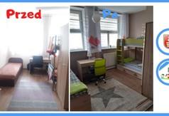Pokój w Domu Dziecka w Kraśniku przed i po metamorfozie.