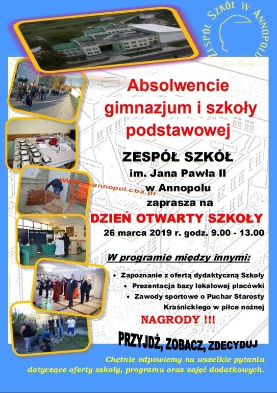 Plakat Dzień Otwarty w Zespole Szkół w Annopolu. (link otworzy duże zdjęcie)