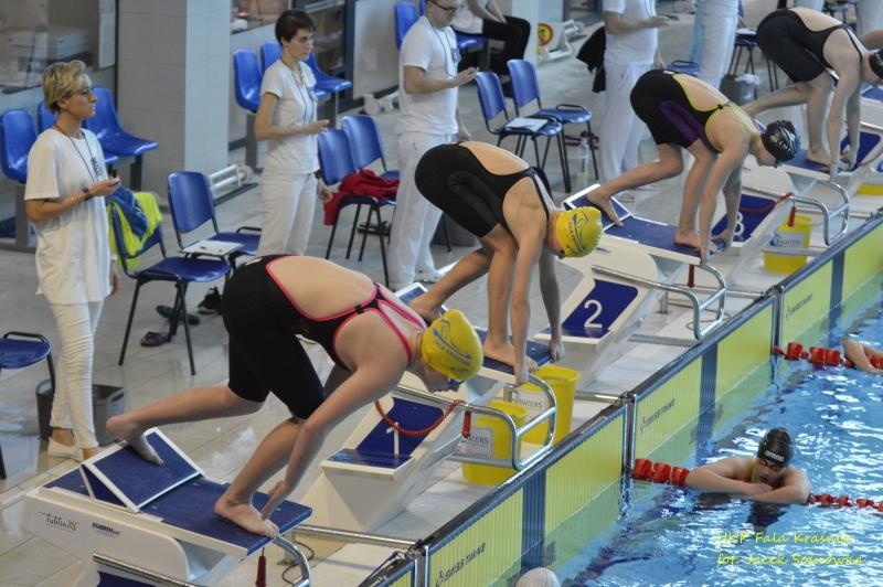 Start jednego z wyścigów w Pływackich Mistrzostwach Województwa (link otworzy duże zdjęcie)