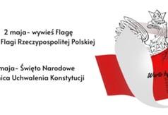 Grafika 2 maja dzień Flagi Rzeczypospolitej polskiej i 3 maja Rocznica Uchwalenia Konstytucji