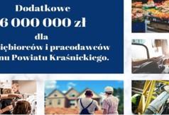 Grafika dodatkowe 6000 000 zł dla przedsiębiorców i pracodawców z terenu Powiatu Kraśnickiego