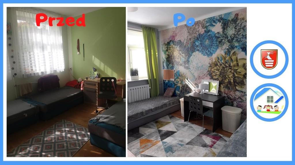 Pokój w Domu Dziecka w Kraśniku przed i po metamorfozie. (link otworzy duże zdjęcie)