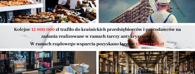 Grafika 12 000 000 złotych w rękach kraśnickich przedsiębiorców i pracodawców, a w ramach rządoweg (link otworzy duże zdjęcie)