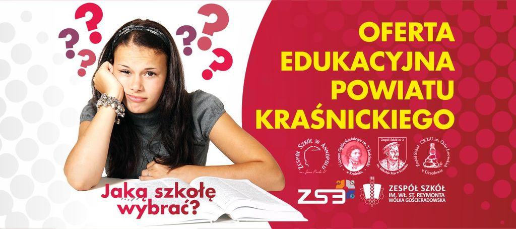 Grafika - Jaką szkołę wybrać? czyli oferta edukacyjna Powiatu Kraśnickiego. (link otworzy duże zdjęcie)