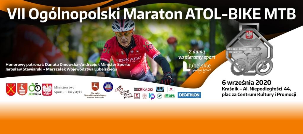Grafika - Banner zachęcający do udziału w VII Ogólnopolskim Maratonie Kolarskim MTB. (link otworzy duże zdjęcie)