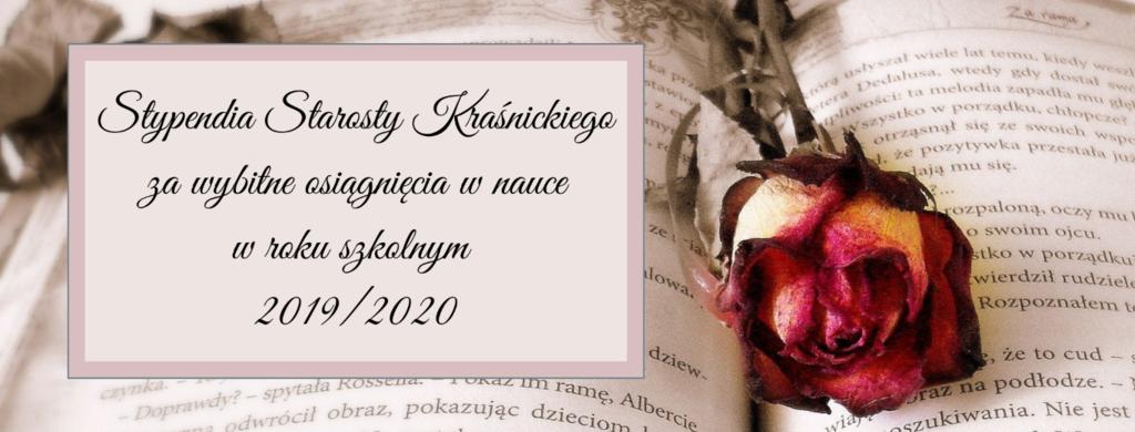 Grafika -Stypendia Starosty Kraśnickiego za wybitne osiągnięcia w nauce w roku szkolnym 2019/2020 (link otworzy duże zdjęcie)