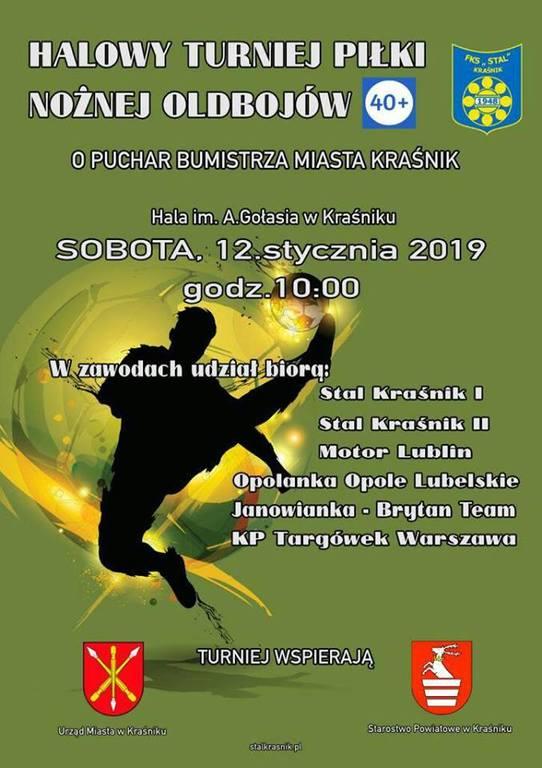 plakat informujący o turnieju w piłce nożnej halowej