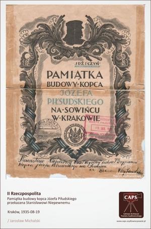 Pamiątka budowy kopca Józefa Piłsudskiego przekazana Stanisławowi Niepewnemu Kraków 1935 [300x454]
