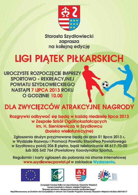 Plakat zaproszenie na ligę piłkarską