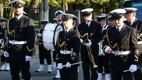 Orkiestra Morskiego Oddziału Straży Granicznej tuż przed występem