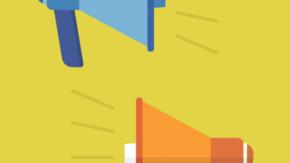 grafika przedstawiająca dwa megafony w kolorze niebieskim i pomarańczowym