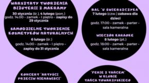 Harmonogram zajęć dla dzieci i młodzieży w czasie ferii w Szydłowieckim Centrum Kultury - Zamek.