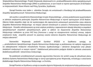 Stanowisko Zarządu Powiatu w Szydłowcu dotyczące aktualizacji planu działania Systemu Państwowego Ratownictwa Medycznego na obszarze Województwa Mazowieckiego