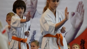 Kilku zawodników ćwiczy Karate