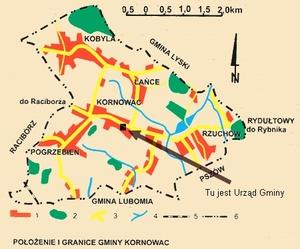 Mapa położenie i granice Gminy Kornowac [300x249]
