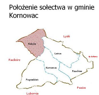 Mapa położenie sołectwa w gminie Kornowac [349x334]