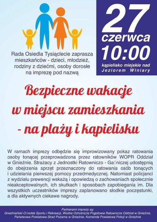 Plakat akcji Bezpieczne wakacje