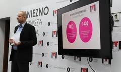 Zdjęcie Prezydenta Miasta Gniezna Tomasza Budasza podczas konferencji prasowej