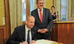 Prezydent Gniezna Tomasz Budasz oraz Nadburmistrz Hansjorg Eger