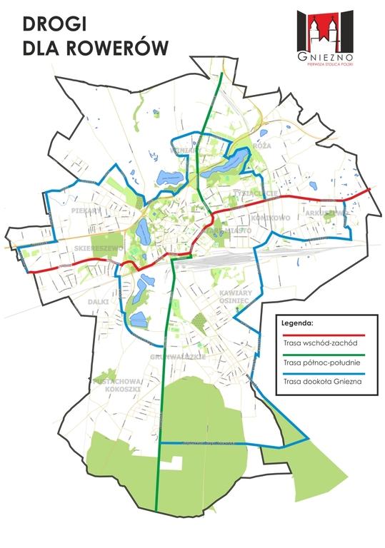 Powstaje koncepcja kompleksowej sieci dróg rowerowych w Gnieźnie (link otworzy duże zdjęcie)