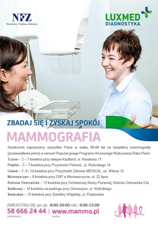 plakat akcji informacyjnej dla kobiet dotyczącej mamografii