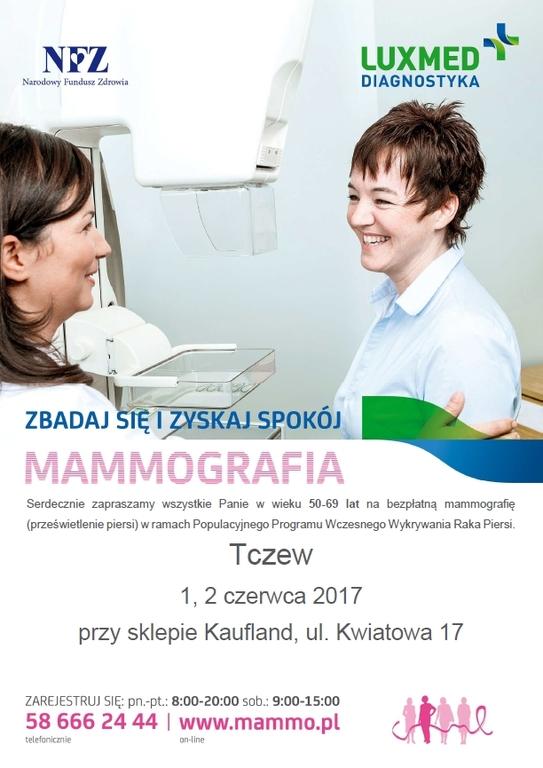 plakat z zaproszeniem na mamografię