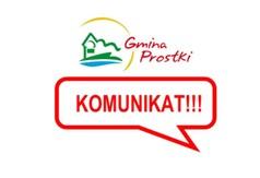 Logo Gminy Prostki - Komunikat